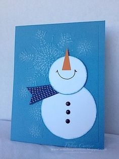 Happy Snowman by pdncurrier - Cards and Paper Crafts at Splitcoaststampers #HomemadeChristmasCards