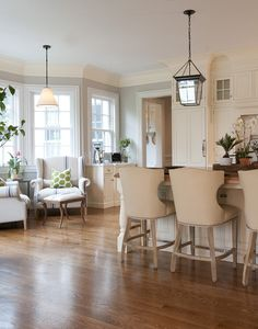 Cozy kitchen with lantern and winged grainsack chairs