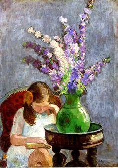 'Ragazza con fiori' di Henri Lebasque  (1865 – 1937)