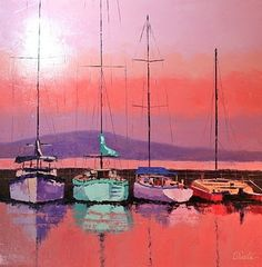 Sunset+Marina,+painting+by+artist+Leslie+Saeta