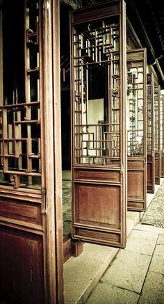 Wooden doors in Suzhou, China.