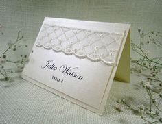 Lace Wedding Place Cards Name Place Cards by PaperStudioByC