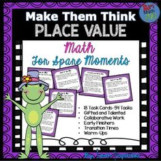Place Value and Operations is perfect for early finishers, math warm-ups, centers, collaborative work, and tasks for gifted learners. There are 18 place value task cards with a total of 54 tasks!! Each activity includes the use of the Common Core Mathematical Practices and the Texas TEKS Process Standards.