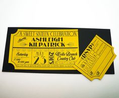 This unique invitation is made to look like a vintage old hollywood movie ticket or theatre ticket with an art deco theme. Printed on a very
