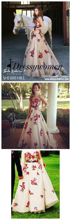 prom dress, 2016 prom dress, floral prom dress, princess prom dress