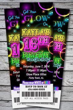 Sweet 16 GLOW in the Dark Theme NEON DISCO Birthday Party Invitation TICKET Stub Any Age