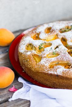 Apricot cake with oilve oil and thyme :: readeat. Apricot Cake, Fresh Thyme, Vegan Cake, Camembert Cheese, Sweet Tooth, Vegan Recipes, Sweets, Oil, Cakes