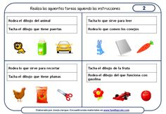 Fichas de comprensión de instrucciones escritas