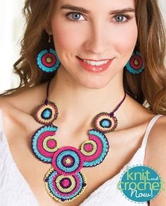 Free crochet Boho Circles Necklace & Earrings pattern download Design by Joyce Bragg Featured in Season 6, episode 11, of Knit and Crochet Now! TV.