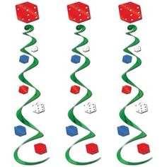 Roll the dice test your luck at a fun casino party. Be a winner by decorating with the Hanging Casino Dice Decorations.