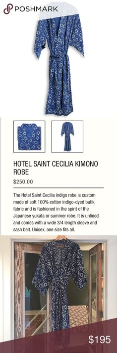 Hotel Saint Cecilia legendary kimono  Anyone who is in the IT crowd can appreciate the tremendously chic, boutique Hotel Saint Cecilia in Austin. I have two of their signature kimonos and only need one lol! This one was a gift and has been washed not worn. I was keeping this one as a back up, but truthfully they just get better and softer the more you wear and wash!***As seen on many celebrities and bloggers such as Bleubird most recently. Saint Cecilia Other