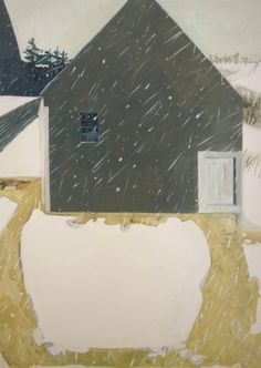 "Lois Dodd, ""Snow Patterns,"" 1983, oil on linen, 56 x 40 inches. Private collection, Connecticut."