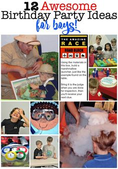 12 Awesome Birthday Party Ideas for Boys! Birthday Party At Home, Birthday Party Games, Birthday Crafts, Birthday Party Decorations, Birthday Party Invitations, Party Themes, Birthday Activities, Kids Birthday Themes, Activities For Boys