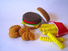 Felt Food Hamburger, french fries & chicken nuggets set eco friendly childrens pretend play food for toy kitchen.