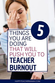 Have you ever found yourself with signs of teacher burnout, but not really knowing how you got there? Well, it's possible that you are doing at least one (if not all five) of these things! Discover five tips that are going to help avoid & prevent te Teacher Encouragement Quotes, Preschool Director, Health Teacher, Effective Teaching, Teaching Jobs, Teaching Ideas, Teaching Techniques, Work Stress, Teacher Memes