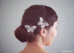 Wedding Hairstyle with lace butterflies