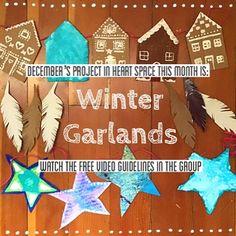 #heARTspace #art #artproject #winter #arttherapy #wintergarland #stars #gingerbreadhouses #feathers Art Therapy, Feathers, Garland, Art Projects, Creativity, Stars, Holiday Decor, Winter, Free