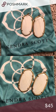 "Kendra Scott Danielle Earrings - White & Gold Excellent condition. Authentic. Comes in pouch. Color ""Mother of Pearl"" Kendra Scott Jewelry Earrings"