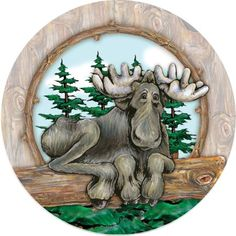 Thirstystone Big Sky Moose Car Cup Holder Coaster, Two Car Coasters Included Width Absorbent Stoneware Self Drying Two Convenient Notches for Easy Removal Moose Decor, Moose Art, Moose Pictures, Moose Pics, Christmas Moose, Christmas Cactus, Ceramic Coasters, Rustic Coasters, Coaster Furniture