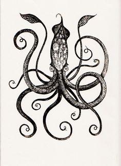 Giant Squid (edition/250), 9 x 12 (printed on handmade Japanese kozo paper) by Graham Blair