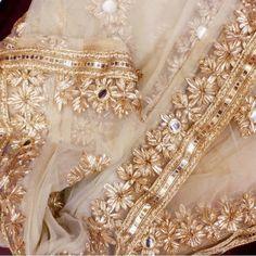 Discover thousands of images about Gold Floral Gotta Net Dupatta Pakistani Fashion Party Wear, Pakistani Wedding Outfits, Pakistani Dress Design, Shadi Dresses, Indian Dresses, Indian Suits, Mehndi Dress, Mehndi Outfit, Bridal Dupatta