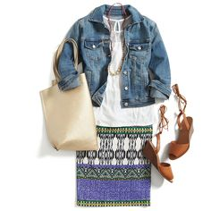 Dress down a printed pencil skirt for the weekend with a white tank, denim jacket & a beaded necklace. Stay on trend with a pair of lace-up wedges and don't forget your go-to carryall tote!