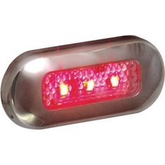 T-H Marine LED Oblong Courtesy Light with Stainless Steel Bezel, Red