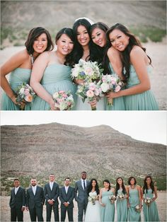 J Crew sage green bridesmaid dresses  organic blend of flowers. Desert bridal party photo  Image by Meg Ruth Photo