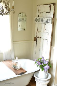 Gorgeous Rustic Farmhouse Bath ! This Entire Hone is Amazing with so many Beyond Beautiful Decorating Ideas ! ( Faded Charm )