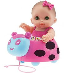 """JC Toys Berenguer 8.5"""" Lil' Cutesies Doll with Ladybug Pull Along"""