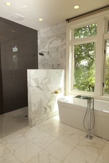 Contemporary Bathroom. Love the half wall, no door concept.