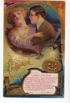 H124 Postcard Halloween Art Nouveau by Nash JOL Owl Tradition Pumpkin Seeds | eBay