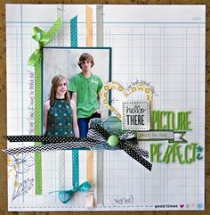 Layout by Leslie Ashe via American Crafts blog. Love the bows tied at end of some ribbon strips.