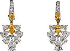 CARTIER. Earrings - platinum, orange-yellow diamonds, yellow diamonds, diamonds. #Cartier #CartierMagicien #HauteJoaillerie #FineJewelry #ColoredDiamonds #Diamonds