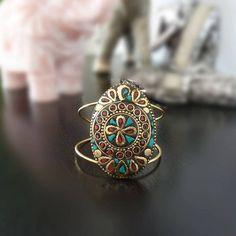 Turquoise bracelet manchette pour femme bracelet indien, brassard Gypsy, Boho brassard, brassard indien ethnique, bijoux fait à la main, cadeau pour elle