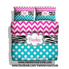 zebra polka dot and chevron duvet cover with shams personalize with name or monogram hot pink turquoise black and white bedroom black white zebra bedrooms