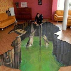 Amazing hand drawn 3D #floor art designs