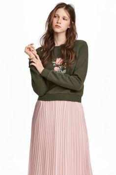 Свитшот с вышивкой - Темно-зеленый - Женщины | H&M RU 1