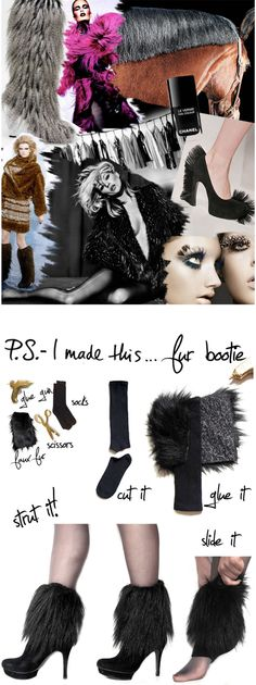 Making a statement with each stride is a must…so be brave, bold, and confident when you strut your stuff. Inspired by the luscious and luxe furs gracing this season's runways and real-ways, these booties pay homage to the furry, the fuzzy and the faux real! Take a walk on the wild side!I hit up my favorite fabric store Mood for faux fur. You only need a little, so get a half yard, and save the leftovers for a future DIY. Cut into rectangles that will measure around your ankles. Use a…