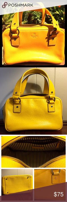 Kate Spade Lemon Yellow Small Bag Cute bright yellow bag with dust cover from Kate Spade. Interior in like new condition with black and white stripes and a zipper pocket.  Exterior shows some signs of wear but must examine closely to notice. See 3rd picture for wear. kate spade Bags Mini Bags