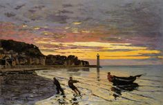 Claude Monet (French,1840-1962) | Hauling a Boat Ashore, Honfleur, 1864  (Impressionism)