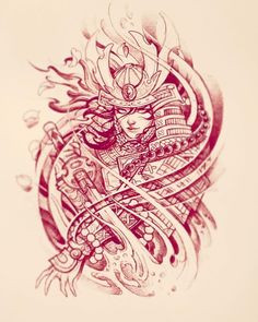 Mini Tattoos Ideas For Girls 20 to Choose From Japanese Tattoo Art, Japanese Tattoo Designs, Japanese Sleeve Tattoos, Irezumi Tattoos, Tattoo Sketches, Tattoo Drawings, Female Samurai Tattoo, Geisha Tattoo Design, Samurai Artwork