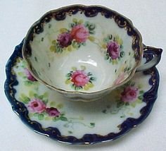 Image detail for -royal nippon cobalt and pink roses cup and saucer a delicate teacup ...