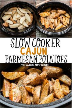 Slow Cooker Cajun Parmesan Potatoes Crockpot Veggies, Crockpot Side Dishes, Crock Pot Food, Crock Pot Slow Cooker, Side Dish Recipes, Slow Cooker Recipes, Crockpot Recipes, Cooking Recipes, Slow Cooker Potatoes