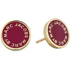 Marc by Marc Jacobs Enamel Logo Disc Studs Earring ($48) ❤ liked on Polyvore featuring jewelry, earrings, accessories, garnet, disc earrings, holiday jewelry, enamel jewelry, evening earrings and stud earring set