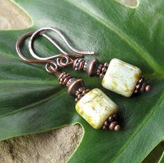 Green dangle earrings  Pale sage Picasso Czech by dalystudios