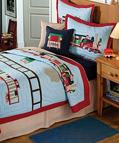 set includes quilt and two shams one in twin setbedding is available with a vintage train motif