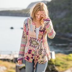"""COUNTRY IDYLL CARDIGAN--Cocoon yourself in the warmth of this wondrous cardigan with deep pockets and a cozy hood. Tassels on tie. Cotton. Machine wash. Imported. Sizes 1 to 4. Approx. 32-1/4""""L."""