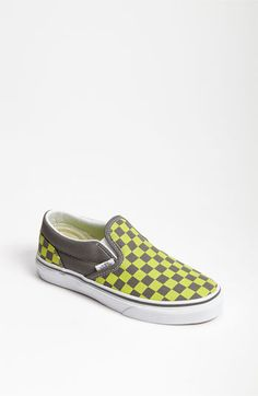 Vans 'Classic Checker Print' Slip-On (Walker, Toddler, Little Kid & Big Kid) | Nordstrom  My boy had to have these.  Oh how he loves green...and checkered vans.