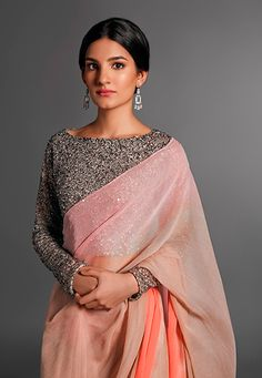 Pinakin Pink & Peach Ombré #Saree With Grey Glitter #Blouse.